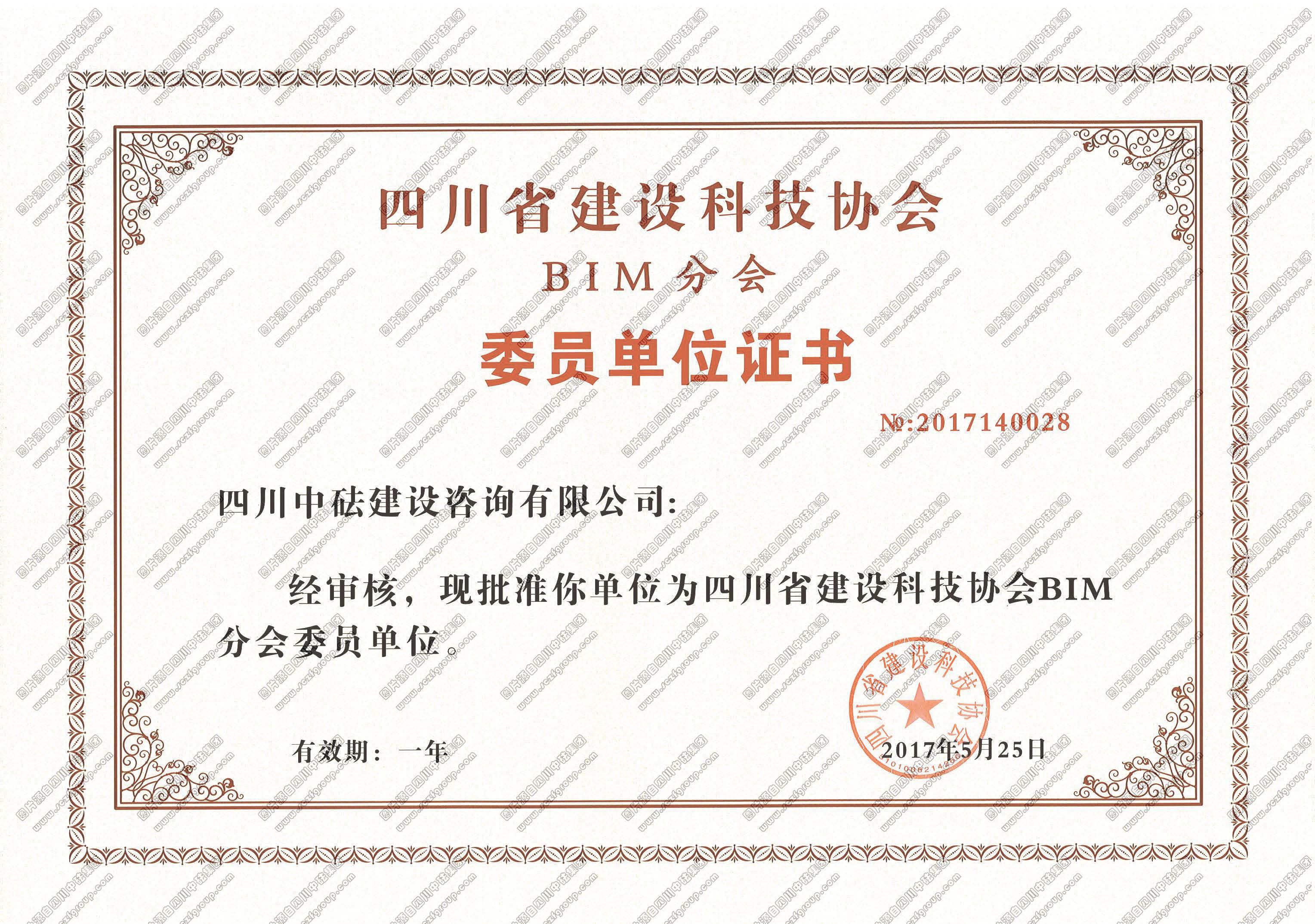 BIM咨询委员单位证书